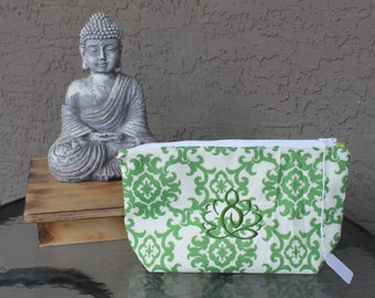 Green & Cream Mandala Print Zippered Pouch with Green Embroidered Lotus