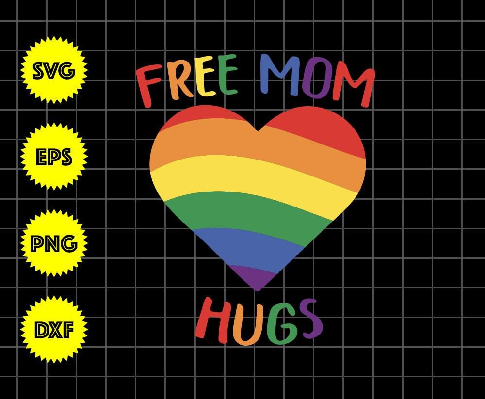 Free Mom Hugs Lgbt Mom Saurus Rainbow Rainbow Heart Svg Etsy