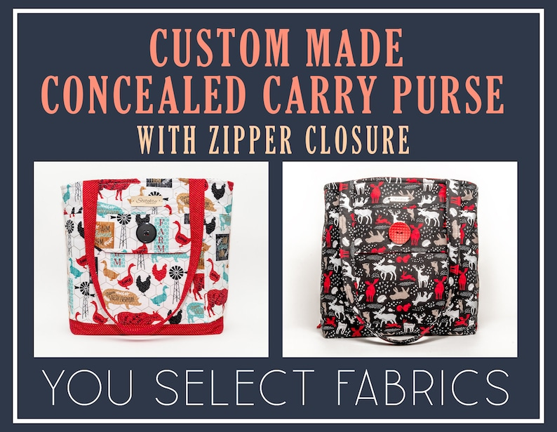 Custom Made Concealed Carry Purse Tote Bag with Zipper Closure