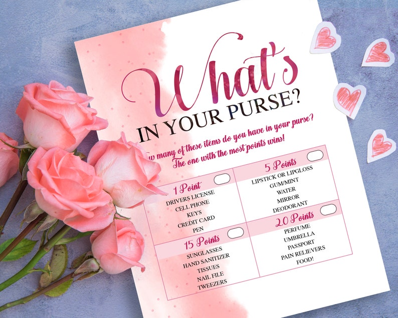 Instant Download Wine /& Blush Printable Games What/'s In Your Purse Blush Pink Bridal Shower WBX1 Bridal Shower Games
