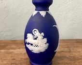 Vintage Wedgwood Jasperware Bud Vase Cobalt Blue Aurora on Her Chariot of Dawn Beautiful Unique Gift