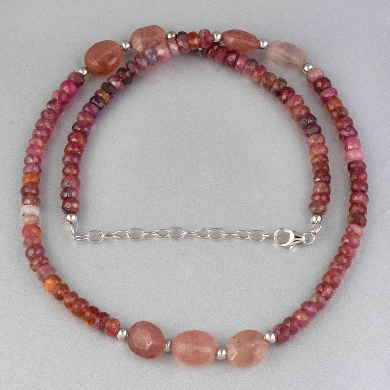 Pink Tourmaline necklace beaded tourmaline multi tourmaline tumble necklace pink gemstone beads necklace genuine Tourmaline jewelry gift
