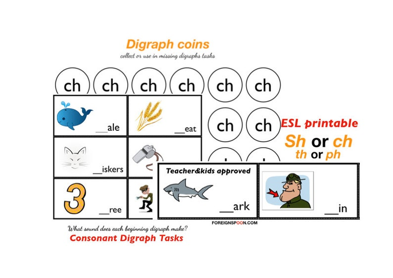 Consonant Digraph -sh, -ch, -ph, -th, -wh Activities, Practice Digraphs,  Printable