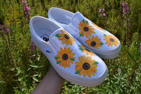 Sunflower Vans Handpainted Custom White