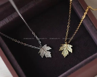 necklace 21 Silver Coated Maple Leaf Pendant Necklace on Black Silk pendant maple leaf leaf