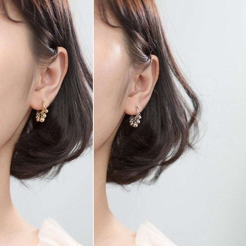 Dainty Gold Silver Hoop Earrings with Dangle HeartBalls Charm Gold Silver Plated on 925 Sterling Silver Tiny Hoops Huggies Pierced