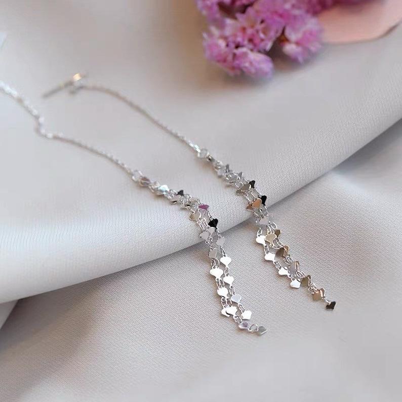 Long Silver Drop Dangle Earrings 925 Sterling Silver Threader Earring Silver Pierced Gift for Her Mom Girl