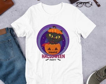 2216035c0 Halloween Cat shirt Unisex T-Shirt, Black cat shirt , Halloween party shirt,  Halloween pet Gift, kitty cat ornament.