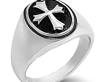 band ring stainless steel ring Contemporary stainless steel cross band ring cross ring Men/'s ring KE031