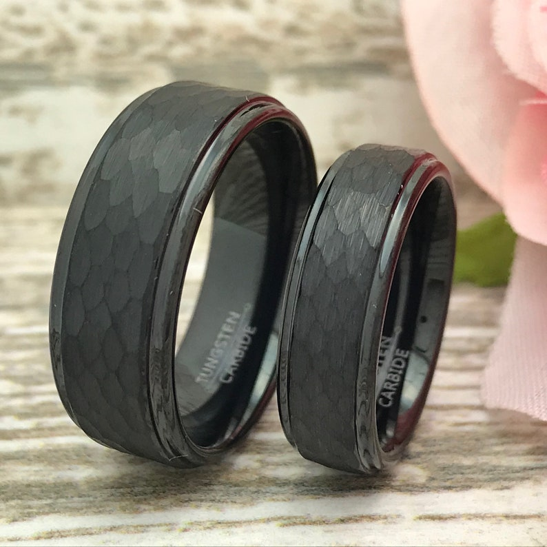 8mm /& 6mm Tungsten Wedding Rings Anniversary Rings  FREE ENGRAVING Bride and Groom Ring Black Hammered Tungsten Wedding Band Set