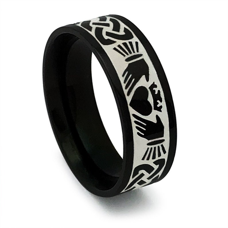 Black Plated Stainless Steel Celtic Claddagh Ring Claddagh Ring Personalized Claddagh Ring Engagement Ring Love Loyalty Friendship Ring