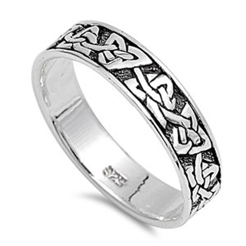 Celtic Eternity Ring Custom Engraving Men Women 5mm  Sterling Silver Ring Celtic Ring Infinity Celtic Wedding Band Skinny Ring