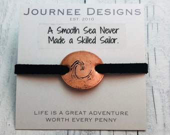 Wave Pressed Penny Adjustable Bracelet