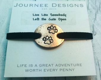 Live Like Somebody Left the Gate Open Dog Print Pressed Penny Bracelet