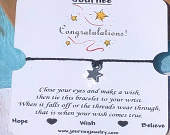Congratulations Motivational Wish Bracelet Inspirational graduation job promotion baby marriage new home moving gift card