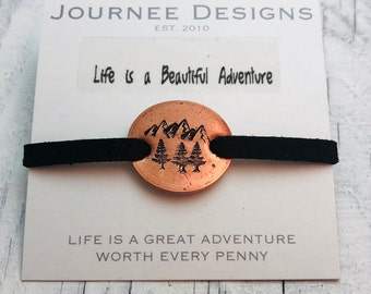 Life is a Beautiful Adventure Pressed Penny Adjustable Suede Bracelet