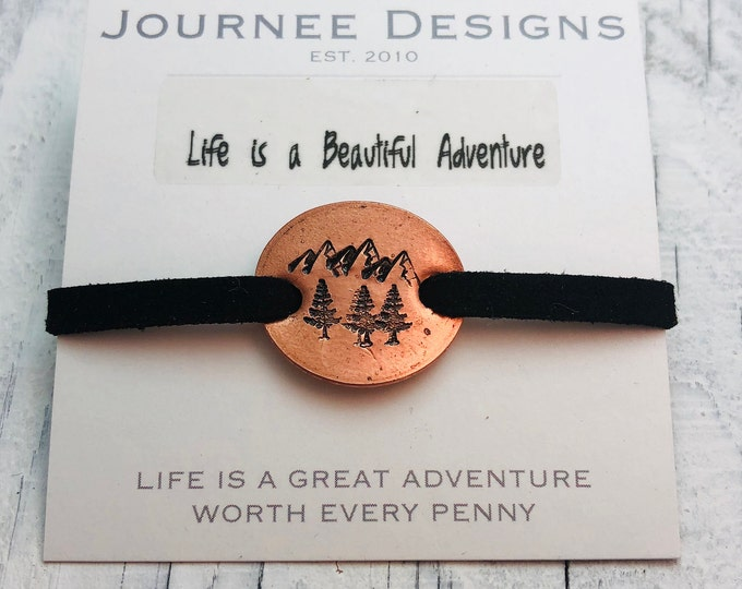Featured listing image: Life is a Beautiful Adventure Pressed Penny Adjustable Suede Bracelet