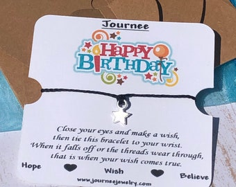 Happy Birthday Wish Bracelet Gift Card Present Tag