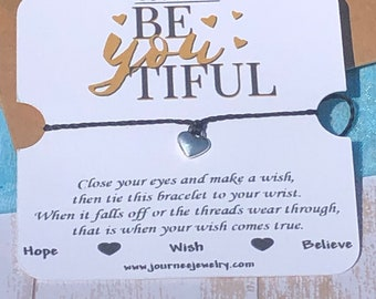 Be YOU tiful Beautiful Inspirational Motivational Wish Bracelet Gift Card Package Friendship friend Daughter Sister birthday gift