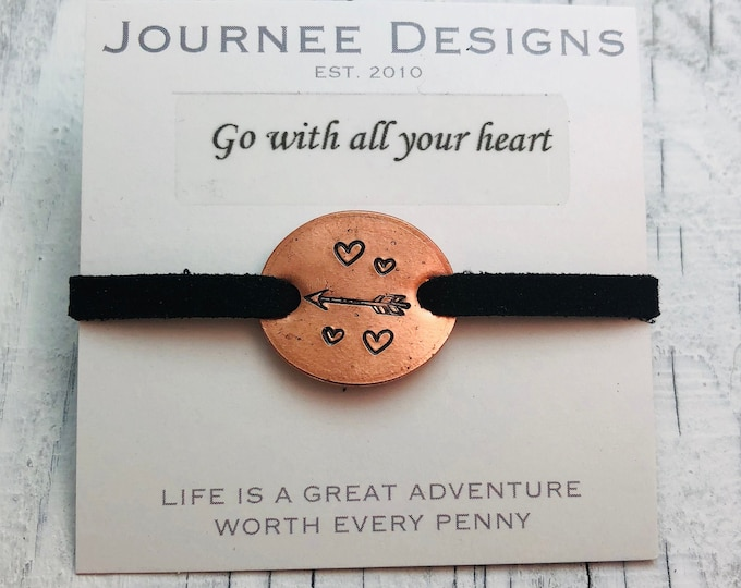 Go With All Your Heart Leather Penny Bracelet