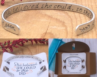 She Believed She Could So She Did Inspirational Motivational Mantra Bracelet