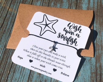 Wish Upon A Starfish Wish Bracelet motivational inspirational friendship birthday party favor greeting card