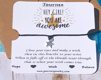 Hey Girl You Are Awesome Wish Bracelet Motivates Inspires Friendship Sister sister-in-law Promotion Graduation gift card