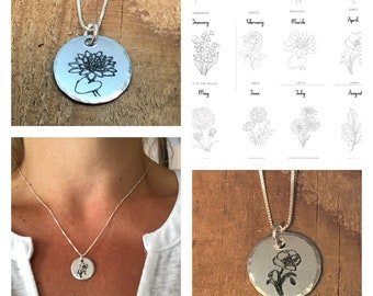 Birth Flower Month Pendant with Sterling Silver Necklace Birthday Gift Custom Made available for your choice of month