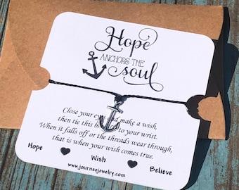 Hope Anchors the Soul Wish Bracelet Inspirational Motivational Bracelet Gift Friendship Daughter Friend Sister