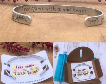 Free Spirit with a Wild Heart Motivational Inspirational Mantra Bracelet
