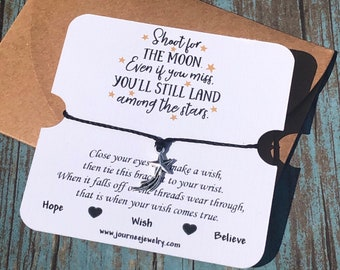 Shoot For the Moon Even if You Miss You Will Land Among the Stars Wish Bracelet Inspirational Motivational Mantra Encouragement