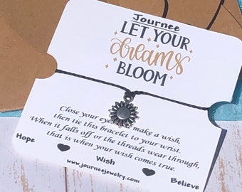Let Your Dreams Bloom Inspirational Motivational Wish Bracelet Gift Card Package Friendship Daughter Sister Flower Birthday Party Favor Gift