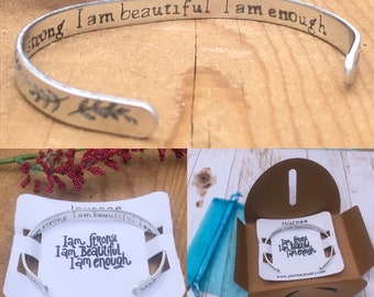 I am strong. I am beautiful. I am enough. Motivational Inspirational Mantra Bracelet Self Care Love Friendship Engraved Cuff
