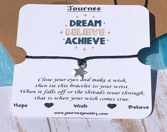 Dream Believe Achieve - Hope inspirational motivational wish bracelet with gift card and package