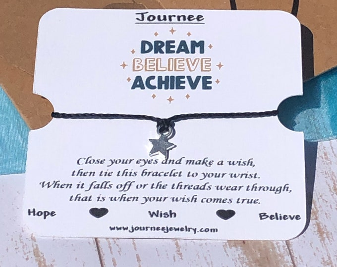 Featured listing image: Dream Believe Achieve - Hope inspirational motivational wish bracelet with gift card and package