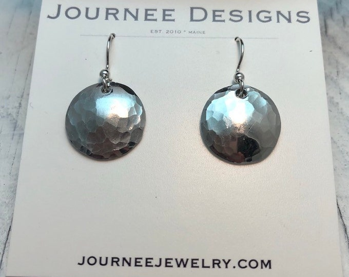 Hammered silver earrings, dainty and tiny round dot earrings