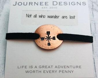 Compass Rose Not All Who Wander Pressed Penny Adjustable Bracelet