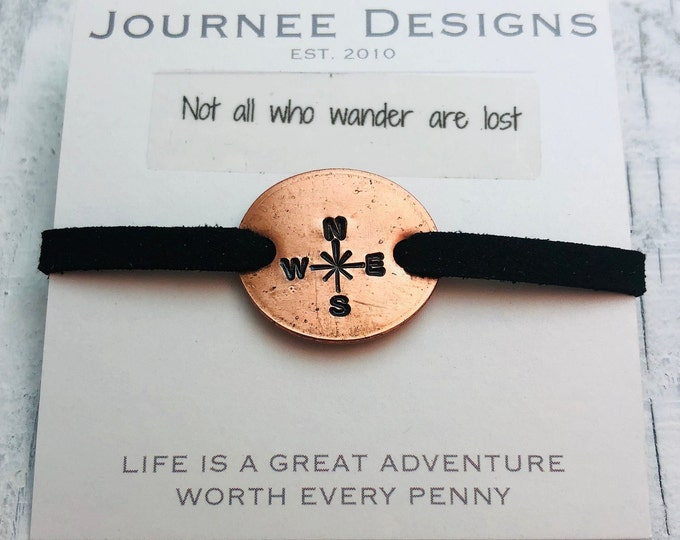Compass Rose Not All Who Wander Pressed Penny Adjustable Bracelet