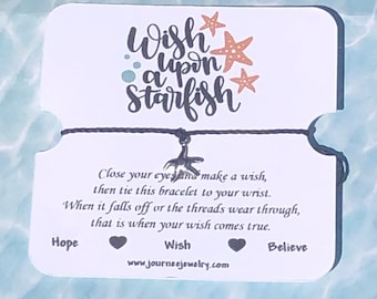 Wish Upon A Starfish Wish Bracelet Inspirational motivational Gift card package Nautical Ocean Star Fish Birthday party favor