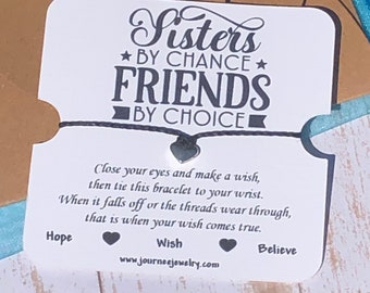 Sisters By Chance Friends By Choice Wish Bracelet Gift Carr Package