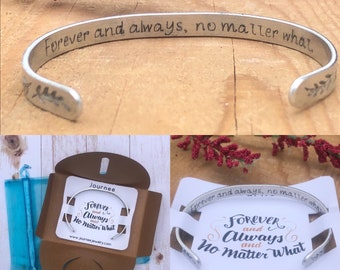 Forever and Always, No Matter What Inspirational Motivational Mantra Bracelet Wife Girlfriend Friend Wedding Gift