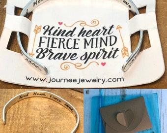 Kind Heart Fierce Mind Brave Spirit Bracelet Inspirational Motivational Mantra Adjustable Gift