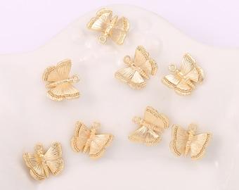 10 Blue Butterfly Charms Gold Tone Enamel Rhinestone  Pendants 21mm Findings