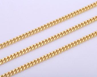 Cuban Link Chain by Yard for Necklace Bracelet Anklet Supply 6mm Wide Chain for Unisex Jewelry #305 24k Gold Plated Cuban Chain