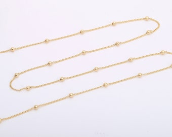14K Yellow Gold Unisex Kids 1.30MM Diamond-Cut Cable Link Chain Necklace
