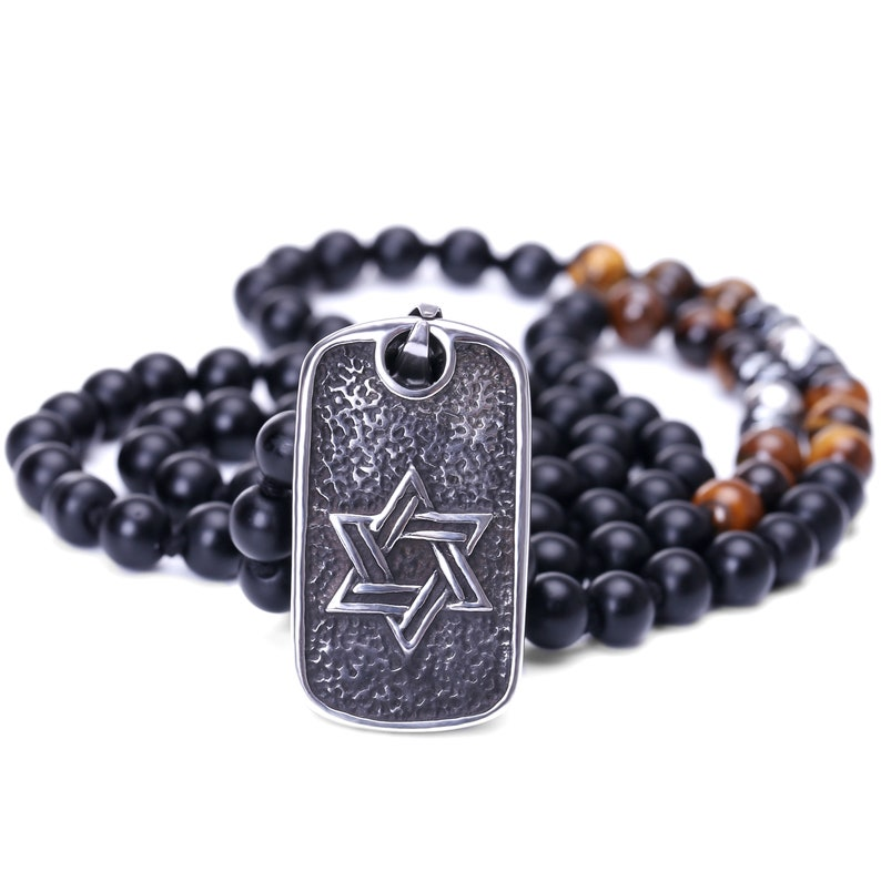 Agate Beads Necklace AWW-XJ962 Tiger eye Bead Necklace For Men Cross Pendant Necklace,Religious Jewelry Vintage Cross Medallion Necklace