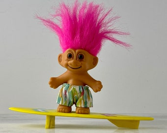 My lucky surfer troll- Russ Berrie - Troll Doll - Vintage - windsurfing - excellent condition - with original stickers on the bottom