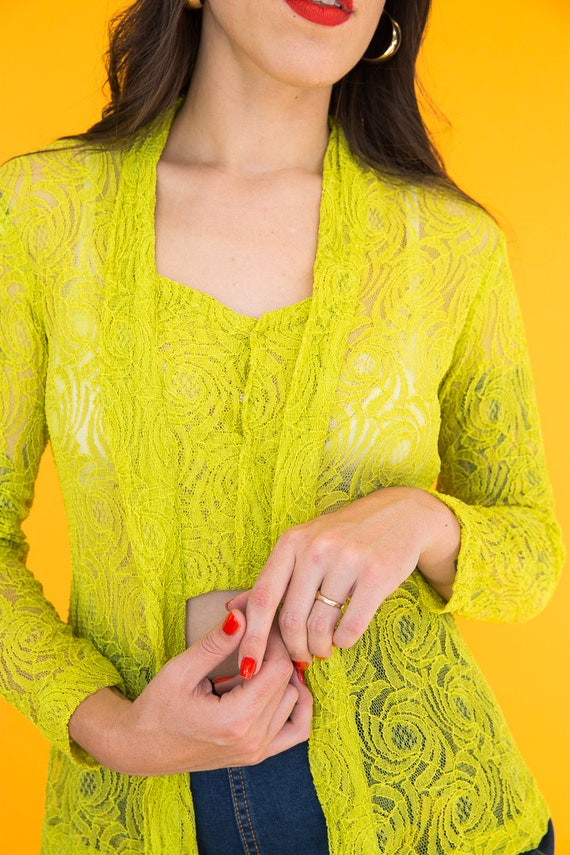 Chartreuse Lace Top