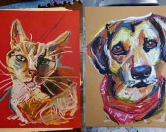 Custom Oil Pastel Pet Portraits