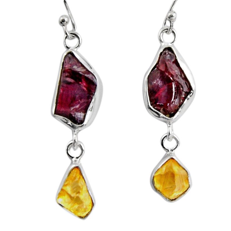 925 silver 15.33cts natural red garnet rough citrine rough earrings